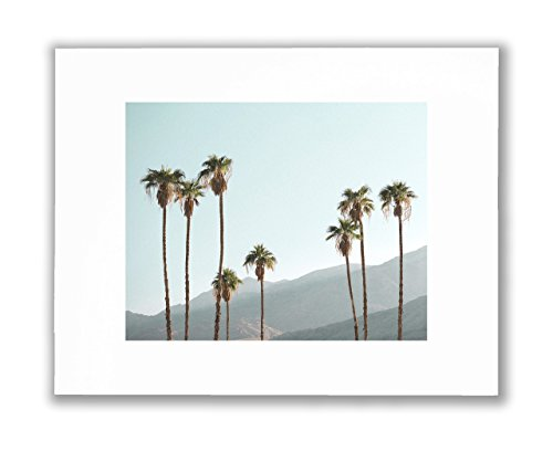 Palm Trees Coastal Decor - Palm Tree Wall Art Picture, Palm Springs HD Unframed Wall Décor, California Desert Photograph, Matted Print 8X10 (Fits 11X14 Frame)