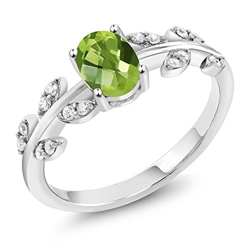 Gem Stone King 0.96 Ct Oval Checkerboard Peridot White Diamond 10K White Gold Olive Vine Ring (Size 6)