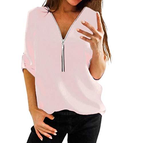 ... Camisa Casual para Mujer Tops Camisa con Cuello en V con Cremallera Camiseta Suelta Blusa Top Pulóver Suéter de la Blusa: Amazon.es: Ropa y accesorios