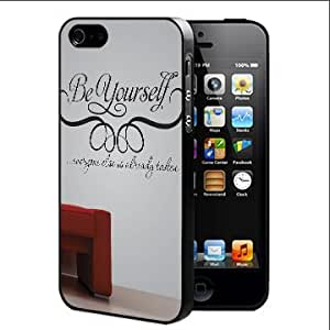 Be Yourself Quote with Red Seat in Background Hard Snap on Cell Phone Case Cover iPhone i5 5s