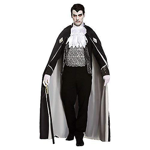 4 Piece Deluxe Mens Black Grey Dead Zombie Vampire Count Dracula Halloween Fancy Dress Costume Outfit