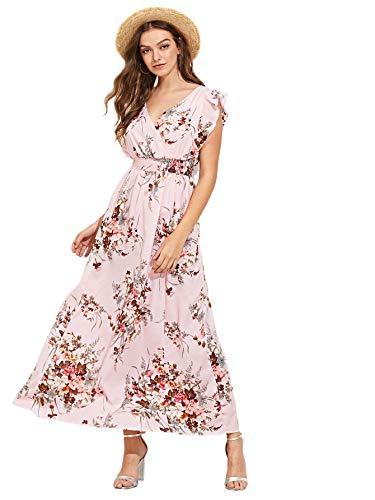 Milumia Womens Wrap V Neck Sundress Floral Boho Party Wedding Empire Waist Maxi Dresses Pink M