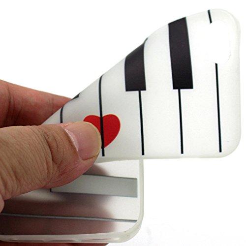 Powerq Noctilucentes Serie Modelo colorido TPU Caso Case < Red Heart Piano - for Samsung Galaxy S5 I9600 >                                              luz luminosa en el oscuro patrón de la caja del teléfono celular Dibujo del proyecto de impre Red Heart Piano