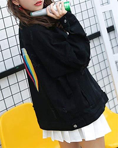 Giacche Primaverile Giovane Manica Schwarz Fashion Giacca Nero Jeans Ricamo Con Button Lunga Moda Donna Digitale Outerwear Cappotto Hipster Women Bavero Autunno Elegante Di Tasche Strappato Classiche rc8PZxrW7n