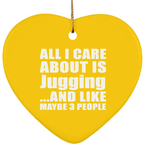 All I Care About is Jugging and Like Maybe 3 People - Ceramic Heart Ornament Athletic Gold/One Size, Silver Chain ID Pendant Necklace, Best Gag Gift for Birthday Christmas Anniversary
