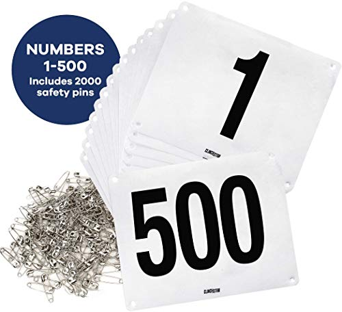 Clinch Star Running Bib Large Numbers with Safety Pins for Marathon Races and Events - Tyvek Tearproof and Waterproof 6 X 7.5 Inches (Numbers 1-500)