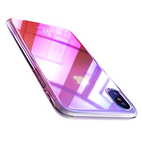 FLOVEME iPhone X XS Case, Luxury Slim Fit Gradual Colorful Gradient Change Color Ultra Thin Lightweight Electroplate Bumper Anti-Drop Clear Hard Back Cover Support Wireless Charging, Transparent Pink