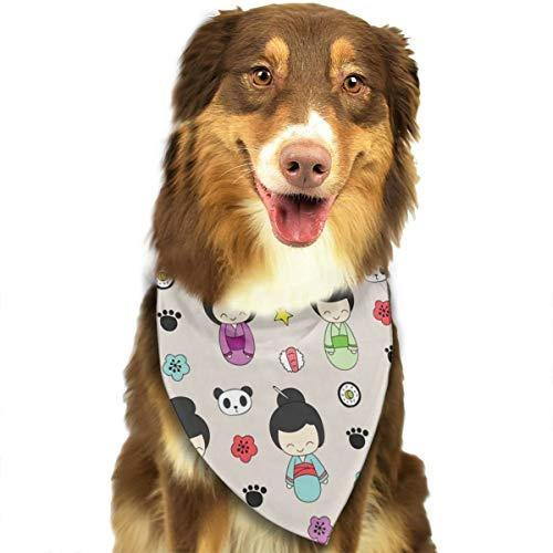 TNIJWMG Hand Drawn Geishas Pattern Bandana Triangle Bibs Scarfs Accessories for Pet Cats and Puppies]()