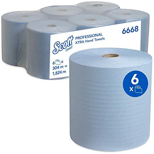 Scott 6668 rolhanddoeken met hoge capaciteit, 1-laags, 6 rollen x 304 m, blauw