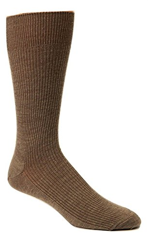 (Non-elastic top Merino Wool Dress Socks (2 Pairs) (Medium (5-9 Shoe), Brown))