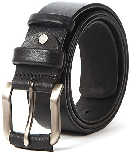 Heavy Duty Leather Belt - 100% Thick Solid Cow Leather. Durable and strong. (L-122cm>38-43