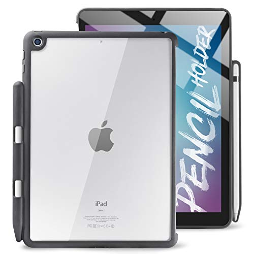 TineeOwl iPad 9.7 Case with Pencil Holder, Hybrid Transparent Back Cover, Slim and Thin, 2018/2017 9.7 inch, Compatible with Smart Cover (Black/Clear)
