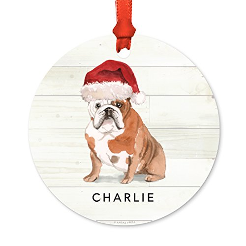 - Andaz Press Personalized Animal Pet Dog Metal Christmas Ornament, English Bulldog with Santa Hat, 1-Pack, Includes Ribbon and Gift Bag, Custom Name
