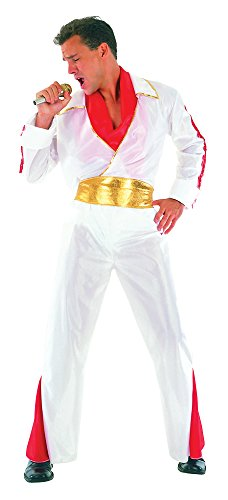 White & Red Men's Elvis Rock Star Costume by Bristol Novelty