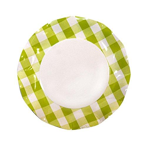 Sophistiplate 41Vtl2 Petalo Paper Dinner Plates, Lime Green Gingham (Pack of 20)