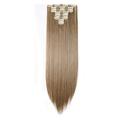 Clip in Hair Extensions Synthetic Full Head Charming Hairpieces Thick Long Straight 8pcs 18clips for Women Girls Lady (23 inches-straight, ash brown mix bleach blonde) by Beauti-gant