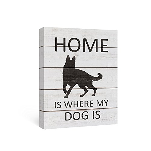 SUMGAR Dog Canvas Wall Art Quotes Black and White Wood Grain Wall Decor for Black German Shepherd Gifts,12x16inch