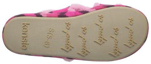 Kensie Womens Tryckt Kors Varumärke Toffel Med Plysch Trim Rosa