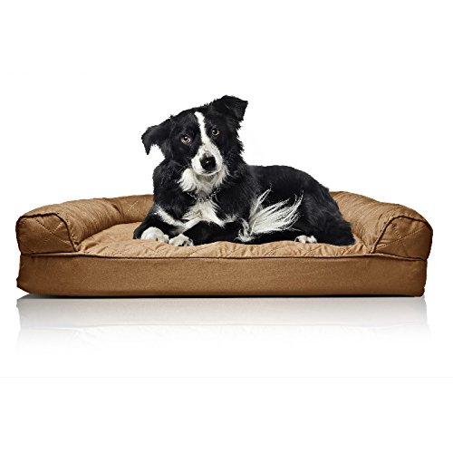 Big Dog Bed Large Orthopedic Washable - Therapeutic Pet Sofa Bolster Couch - Best Pup Comfort Bundle w Rope Toy (Brown)