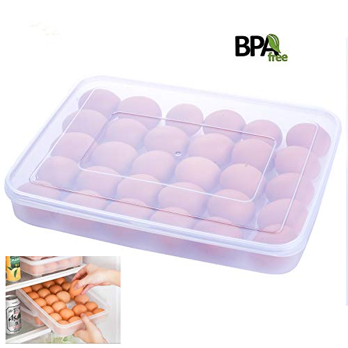 Kary Covered Egg Holder,Egg Storage Box Eggs Dispenser,30 Egg Tray, Clear