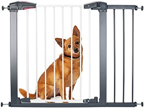 Delxo Sturdy Safe Baby Gate with 4 Pressured Adjustment Bolts for Stairs Doorways, 29 to 34 Wide 32 Height, Single-Hand Easy Walk-Through No Tools Required Install for Baby Dogs Cats