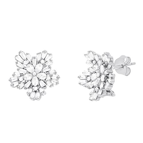 18K White Gold Over Sterling Silver Cubic Zirconia Floral Design Post Earrings (How To Make A Halo Costume)