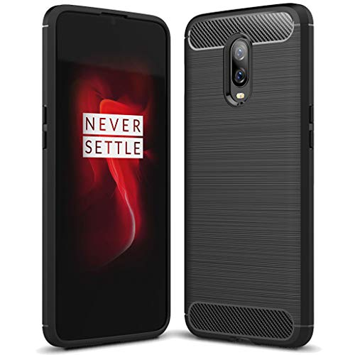 OnePlus 6T case, Sucnakp TPU Shock Absorption Technology Raised Bezels Protective Case Cover for OnePlus 6T Smartphone (Black)
