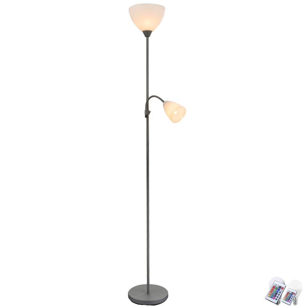Steh Lampe Wohn Zimmer Fernbedienung Flexo Arm Lese Leuchte dimmbar im Set inkl RGB LED Leuchtmittel