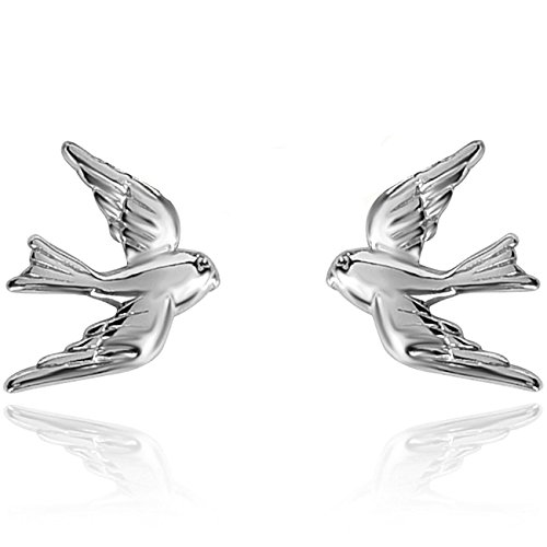 Silver Bird Earrings - YAN & LEI Sterling Silver Vintage Swallow Birds Stud Earrings Color Silver