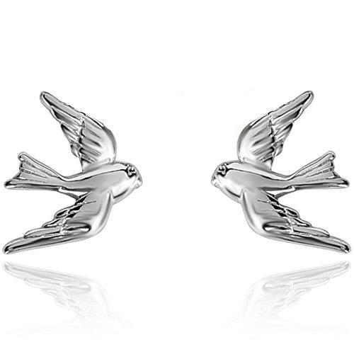 Little Earrings Bird (YAN & LEI Sterling Silver Vintage Swallow Birds Stud Earrings Color Silver)