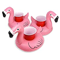 GoFloats Inflatable Pool Drink Holders (3 Pack) Designed in the US | Huge Selection from Unicorn, Flamingo, Palm and More | Float Your Hot Tub Drinks In Style, Floatmingo