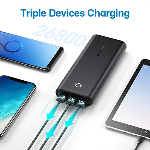 POWERADD EnergyCell 26800 Portable Charger, [2020 New Edition] 26800mAh High Capacity Power Bank, Fast Charging Battery Pack with 2 Input and 3 Output Ports, for iPhone, Samsung, Tablet and More