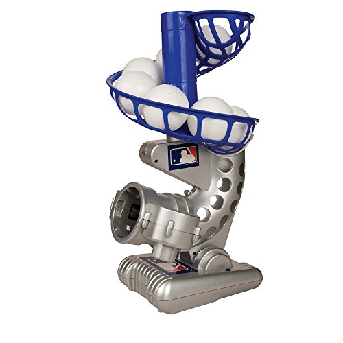 Franklin Sports MLB Electronic Baseball Pitching Machine - Height Adjustable - Ball Pitches Every 7 Seconds - Includes 6 Plastic Baseballs (Best Pitching Machine For Little League)