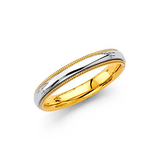 Yellow Gold Domed Wedding Band - Wellingsale 14k Two 2 Tone White and Yellow Gold Polished 3.5MM Domed Center Milgrain Comfort Fit Wedding Band Ring - size 5.5