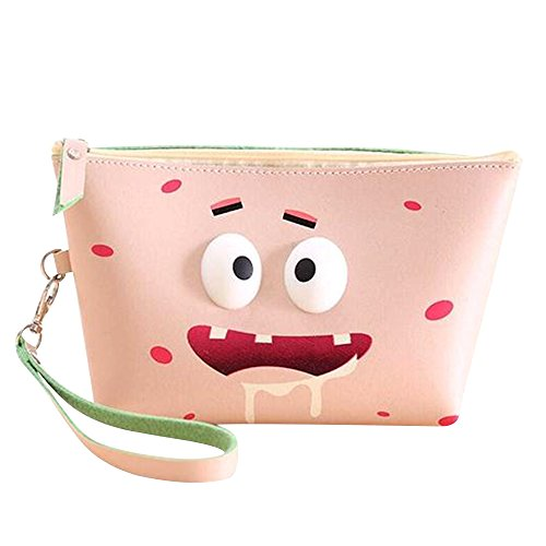 Happy Hours - Portable Cartoon Waterproof Toiletry Bag Pouch / Modern PU Leather 3D Eyes Top Zipped Organizer Cosmetic Makeup Case for Outdoor Travel and Homeuse(Piggish)