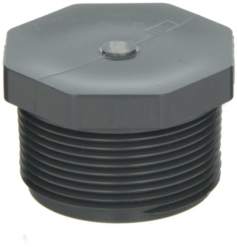 GF Piping Systems PVC Pipe Fitting, Plug, Schedule 80, Gray, 1-1/4