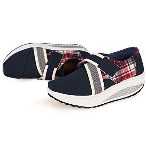Eagsouni Damen Sneaker Klassiker Keil Plateau Freizeitschuhe Segeltuch Schuhe Royal Blau
