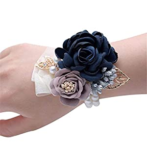 Flonding Girl Bridesmaid Wrist Flower Corsage Bridal Bride Hand Wrist Band Flowers with Elastic Faux Pearl Bead Wristband for Wedding Prom Homecoming Party Decor (Dark Blue, Pack of 2)