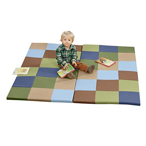 ECR4Kids Softzone Patchwork Toddler Foam Play Mat, 58 Square, Earthtone