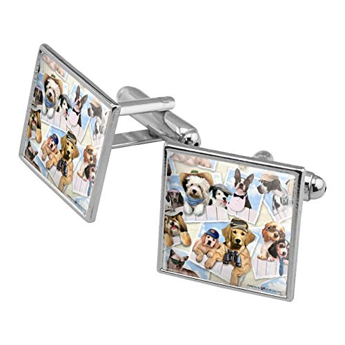 GRAPHICS & MORE Cool Dogs on Framed on Fence Pattern Square Cufflink Set Silver Color ()