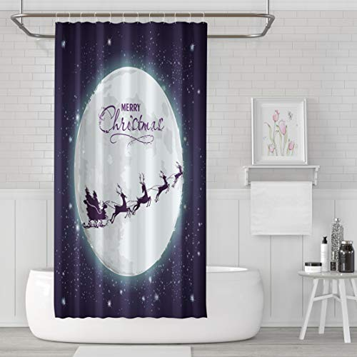 Asoco Shower Curtain Set with 12 Hooks Santa Sleigh Full Moon and Starry Sky Reindeer Santa Moon Sleigh Sky FlyingPolyester Fabric Waterproof Bath Curtain 72X72 Inches Decortive Bathroom