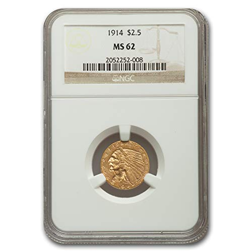 1914 $2.50 Indian Gold Quarter Eagle MS-62 NGC $2.50 MS-62 NGC