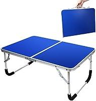 EPHRAMアウトドア テーブル 折りたたみ キャンプテーブル ベッド用 机 軽量 2つ折り 約61*42.5*27 耐荷重約40KG 重量約1.26kg 耐高温 アルミ製 ガタつき防止設計 藍色 ピクニック バーベキュー レジャー...