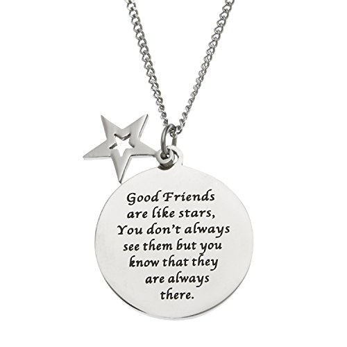 Good Friends Are Like Stars…. Stainless Steel Disc and Star Friendship Pendant Necklace