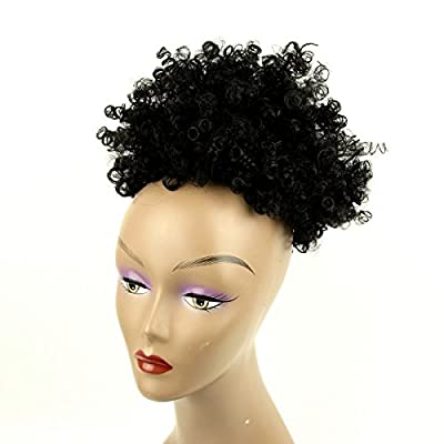 BEIRA Synthetic Afro Puff Drawstring Ponytail Short Kinky Curly Hair Bun Extension Donut Chignon Hairpieces Wig Updo Hair Extensions with Two Clips