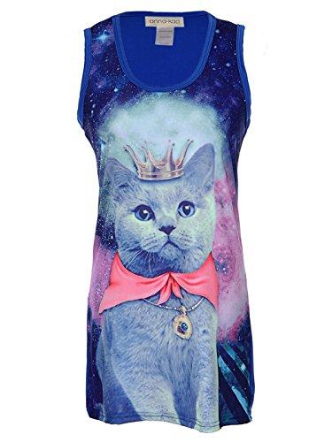 Anna-Kaci Blue Screen Print Galaxy Kitty Cat Queen Long Slim Tank Dress