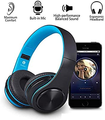 Auriculares Bluetooth con Micrófono, Funwaretech Hi-Fi Cascos Inalambricos Plegables para Móvil,TV,PC(Azul): Amazon.es: Electrónica