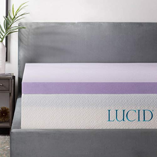 (LUCID 3 Inch Lavender Infused Memory Foam Mattress Topper - Ventilated Design - Cal King Size)