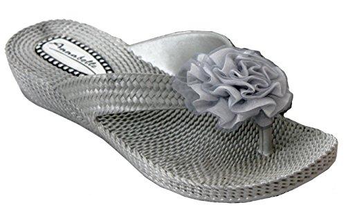 A&H Footwear ,  Mädchen Damen Zehentrenner Silber