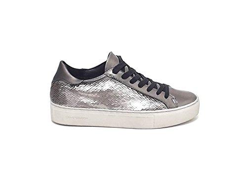 Crime donna, 25224, sneakers pelle pailettes piombo A6102